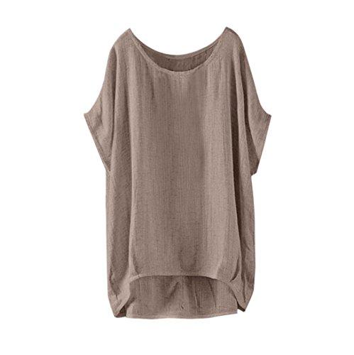 ESAILQ Damen Casual Einfarbig Oberteil Bluse Sommer(XL,Khaki)