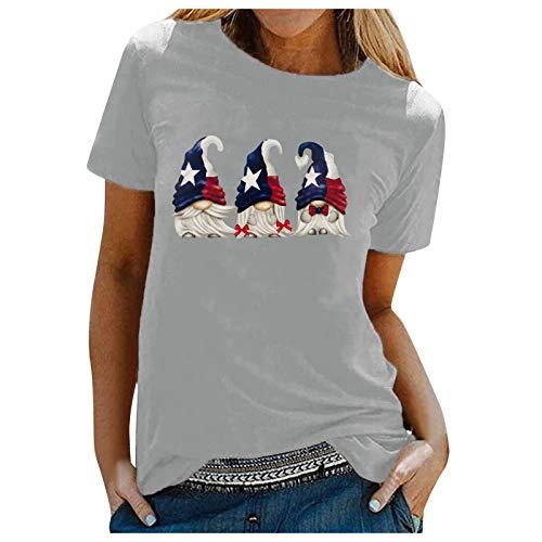 Camiseta de verano para mujer, parte superior divertida, manga corta, moderna, básica, informal, cuello redondo, cómoda, para el tiempo libre, para mujeres, adolescentes, niñas