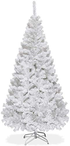 Goplus 5ft Artificial Christmas Tree Xmas Pine Tree with Solid Metal Legs Perfect for Indoor and Outdoor Holiday Decoration, White