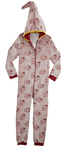 Harry Potter Pyjama One Piece Hooded, Fluffy Gryffindor Kinder Fleece Onesie Kostüm leuchtet im Dunkeln, Pyjama Overall für Jungen und Mädchen, Geschenke Fans (9/10 Jahre)