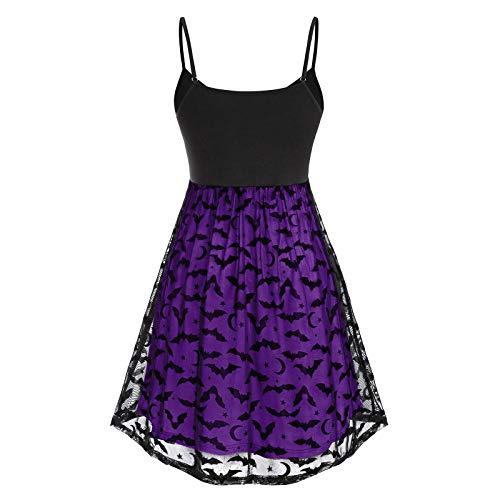 Kobay-Damen Mode Hautfreundlich Vintage ärmellose Schaukel Plus Size Halloween Fledermaus Mesh Partykleid Geschenke für Frauen