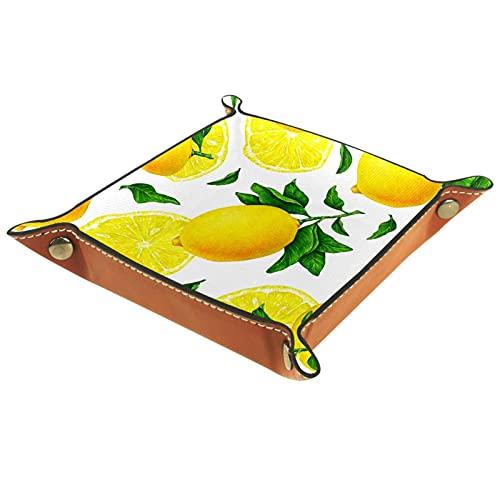 Fruta cítrica amarillo limón, organizador de joyas de cuero PU bandeja de dados organizador de escritorio anillos pendientes clave reloj accesorios valet bandeja decoración del hogar