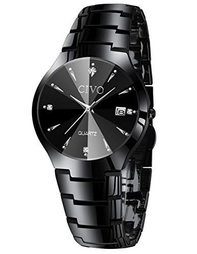 CIVO Relojes para Hombre Acero Inoxidable Impermeable Negro Reloj de Pulsera de Lujo Fecha Calendario Clásicos Analogicos Reloj de Cuarzo Negocio Casual Simple con Correa de Negro