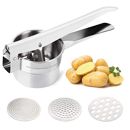 Delyking Stainless Steel Potato Ricer Baby Food Vegetables and Fruit Masher Large Capacity with 3 Interchangeable Fineness Discs Dishwasher Safe