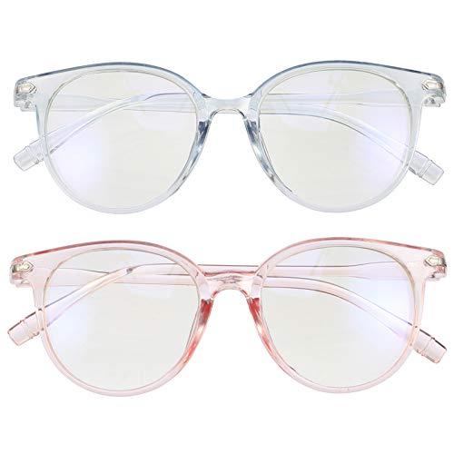EXCEART 2Pcs Anteojos de Bloqueo de Luz Azul Anteojos Anti Fatiga Visual Gafas de Lectura de Marco Azul Rosa Moda Gafas sin Receta para Hombres Mujeres