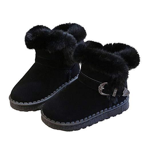 Niños Botas de Nieve Niñas NiñosBotas de Nieve para niños Zapatos de algodón de Invierno Zapatos para niñas y niños Botas Cortas de Color sólido-Negro_27Botines Botas de Nieve para niños