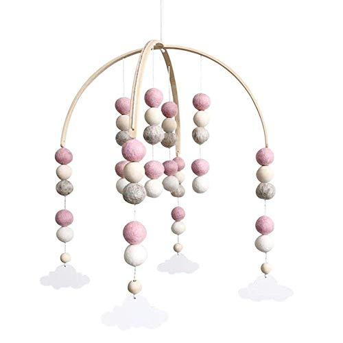 Carillón de viento, Carillón de Viento Del Bebé, Móvil de Cuna Luces Musica, Campanas de viento móviles para cuna, para decorar cochecitos de bebé, los mejores juguetes para regalar a los bebés(Rosa)