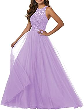YORFORMALS Women's Floor Length Scoop Neck Beaded Tulle Evening Prom Dress A-line Formal Ball Gown