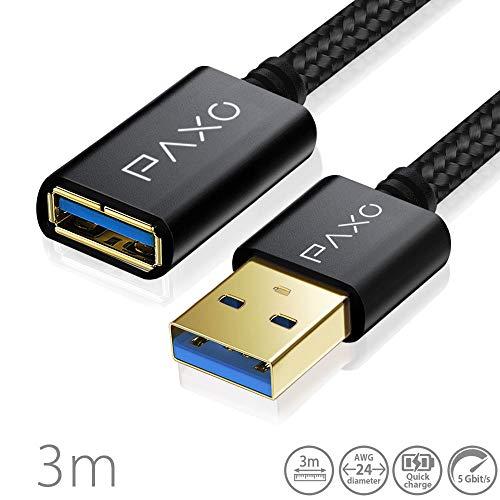 3m Nylon USB USB 3.0 Verlängerung schwarz, A-A USB Verlängerungskabel mit eleganten Alluminiumsteckern, Nylon Stoffmantel & Kabelklett