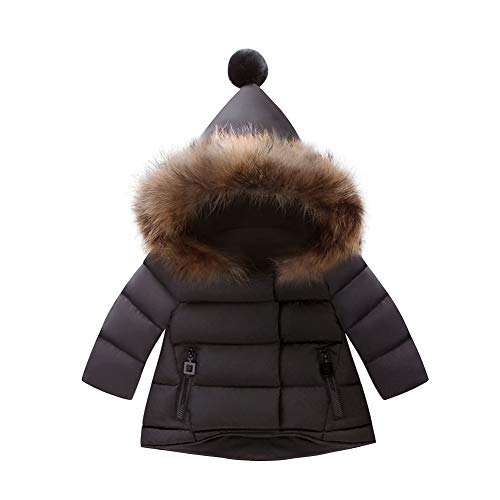 Toddler Baby Girls Faux Fur Jackets Hooded Thicken Fleece Warm Light Puffer Coat Plush Winter Hoodie Snowsuit Outwear for Kids Hoody Jacket Cardigan Outdoor Snowsuit Windproof # Black 6-12 Months