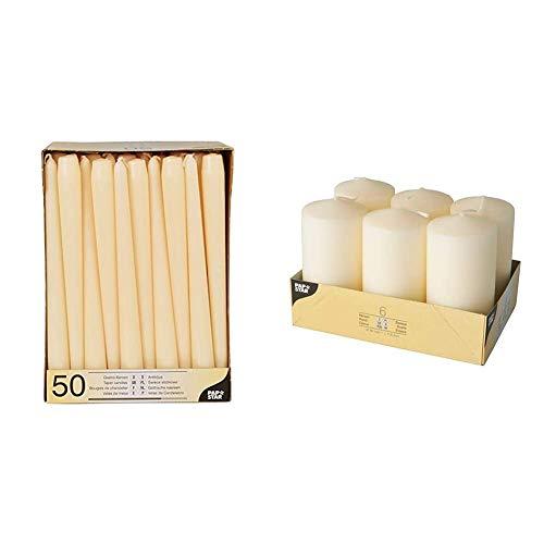 Papstar 17967 Paraffina, Bianco, 17967-50 Candele per candelabro Ø 2.2 x 25 cm, Colore: Champagne & 17991 Set Di 6 Candele, 60 X 115 Mm, 6 Pezzi, Colore Avorio