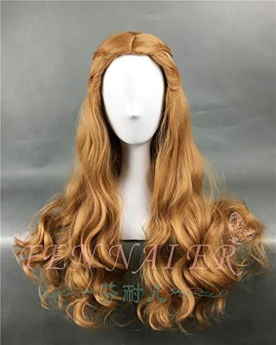Juego de tronos Cersei Lannister Peluca larga ondulada de oro oscuro Disfraz de reina Cersei Brown Disfraz con red para el cabello Talla única Cersei