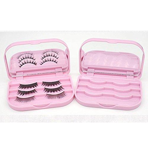 Falsche Wimpern Aufbewahrungsbox Make-up Kosmetische Mit Spiegel Fall Rosa Reiseveranstalter Schönheit Kosmetik Werkzeug Kunststoff Geschenk 110X74X20mm Changlesu (Rosa)