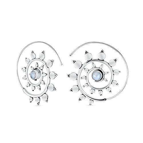 Boho Laberinto Tribal Geométrica Espiral Espiral Moonstone Pendientes Para La Mujer Adolescente Plata Plate Brass