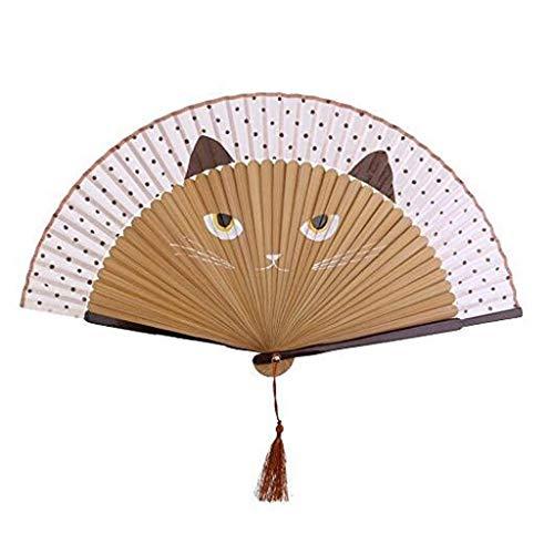 CAIM Zakken ventilator voor de zomer, zijde van bamboe, inklapbaar, handgemaakt, bloem, bakken, nagellak, ventilator, tassen, geschenken voor bruiloft, decoratie