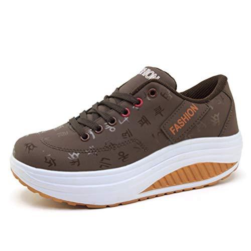 Allenatori Donne Scarpe Aumentare Aumentare Wedge Heel Casual Sport Scarpe Chunky Lace Up Athletic Piattaforma Clunky Sneakers
