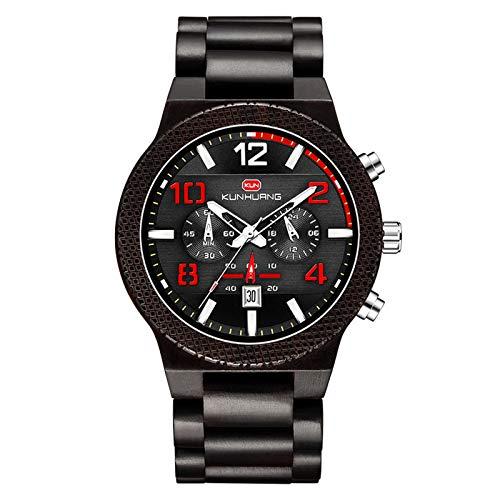 YiLuFanHua Herren Holzuhr, analoge Datumsanzeige Sport- und Freizeit wasserdichte Uhr, Multifunktions-Quarzarmband Geschenkbox,Ebony