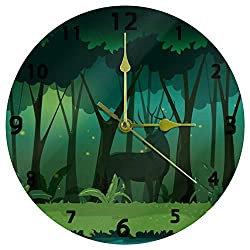 Promini Decorative Home Office Silent Non-Ticking Wooden Wall Clock 12 Inch Round Wall Clock for Living Room Office (Magic Night Deer Green Night Forest Jungle Landscape)