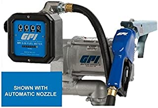 GPI 133600-58, M-3120-ML/MR530-G6N, Pre-Assembled High Flow Cast Iron Fuel Transfer Pump with Meter, 20 GPM, 115-VAC, 4-Digit Batch Display, 0.75-Inch NPT X 12-Foot Fuel Hose, Manual Leaded Nozzle
