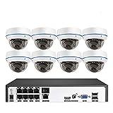 Überwachungskamera Set 8Ch H.265 5.0 Mp Sicherheitskamera-System Ip-Dome-Kamera Vandalensicheres...