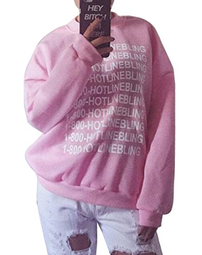 Abetteric Letter Printed Women Pullover Jacket Outwear Sweatshirts Pink M