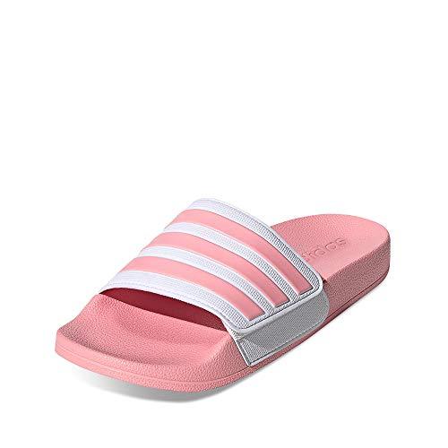 adidas Performance EG1898 Adilette Shower ADJ Mädchen Badeschuh aus Eva-Material mit Klett, Groesse 39 1/3, rosa/weiß