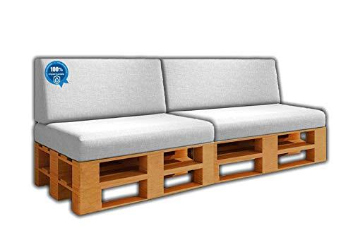 Pack Ahorro 2 Asientos + 2 Respaldo de Cojines para Sofa de palets / europalet | Desenfundable | Interior y Exterior | Color Blanco Nautico | 100% Impermeable | Espuma de Alta Densidad.