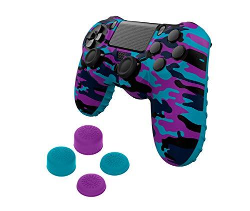 Gioteck - Funda de silicona de camuflaje morada y azul + 4 grips para mando duashock 4 de PS4 (PlayStation 4)