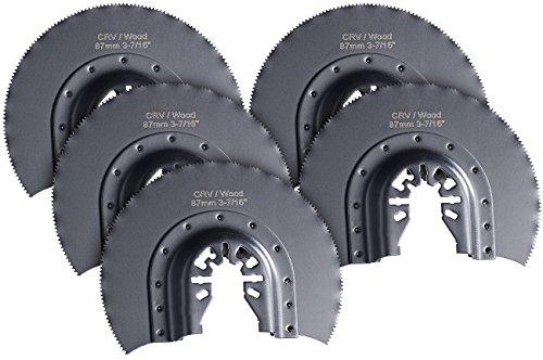 AGT Professional Sägeblätter Multitools: Rostfreies Rundsägeblatt, 87mm, CRV, Schnellspannung, 5er-Set (Multitool Zubehör)