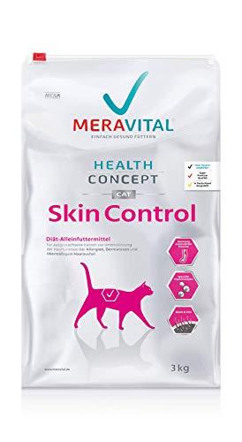 MERAVITAL Skin Control Katzenfutter trocken 3 kg für Katzen mit Hauterkrankungen & Futtermittelallergien mit Rezeptur aus Ente und Kartoffel