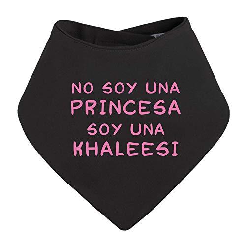 Bandana bebé No Soy una Princesa, Soy una Khaleesi. Juego de Tronos, Game of Thrones, Logo Comic Fan Art Parodia. Bebé Friki. (Negro)