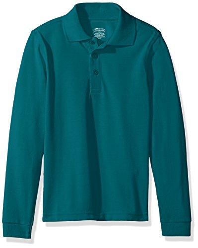 Classroom School Uniforms Kids Little Boys' Uniform Long Sleeve Pique Polo, Teal, S