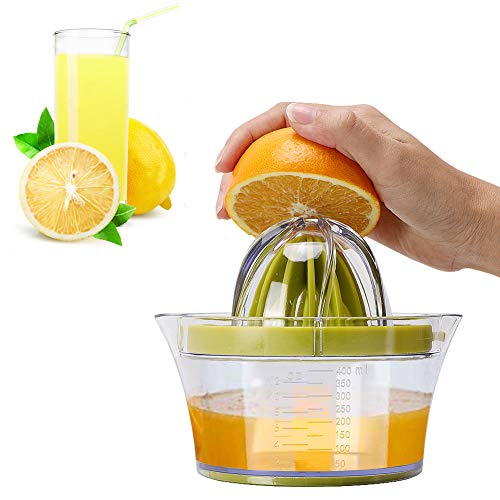 IZSUZEE Zitronenpresse, Zitruspresse 4 in 1 Orangenpresse Manuell, Saftpresse Orange mit Behälter 400ml, Zitronenpresse Hand Plastik, Citruspresse Limettenpresse, Entsafter Gemüse und Obst, MEHRWEG