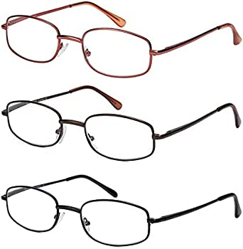Looklife Reading Glasses Classic Thin Metal Frame Readers