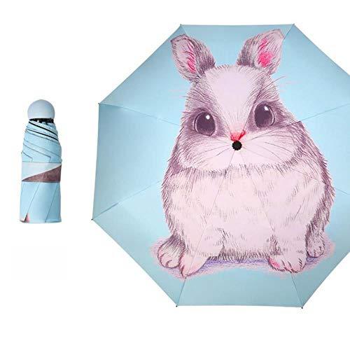Xmjj Zon Paraplu regen Vrouwen Kat Zwarte Coating Zonnebrandcrème Merk Pocket 5 Vouwen Paraplu's, Blauw