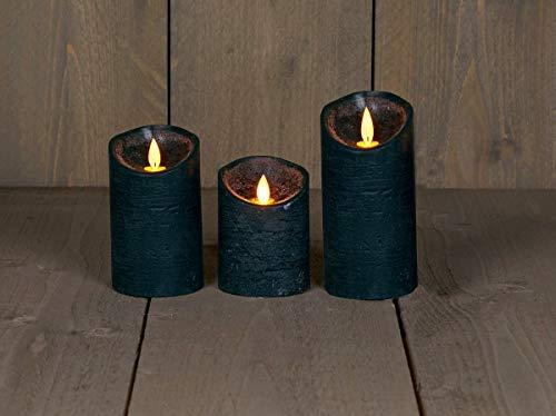 Coen Bakker 3er Set Kerze LED Echtwachskerze 10 cm + 12,5 cm + 15 cm Kerze Ø 7,5 cm viele Farben mit Timer flackender Docht Wachskerze Kerzen, Farbe:Antik Grün