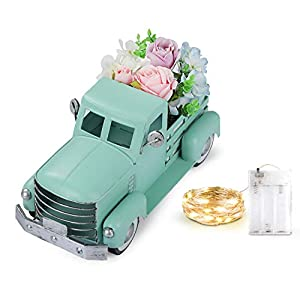Vintage Easter Turquoise Truck with Artificial Flowers & Fairy Lights Decorations, Farmhouse Pick-up Metal Truck Spring Decorations & Decorative Dining Table Centerpiece