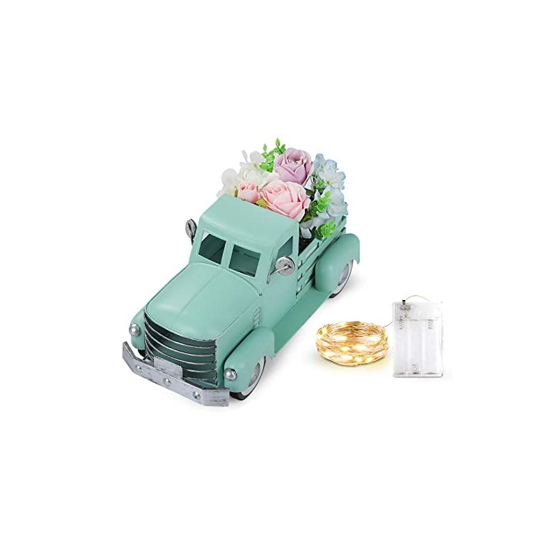 silk flower arrangements giftchy vintage easter turquoise truck spring decorations, farmhouse pick-up metal truck with flowers & fairy lights decorations & decorative dining table centerpiece