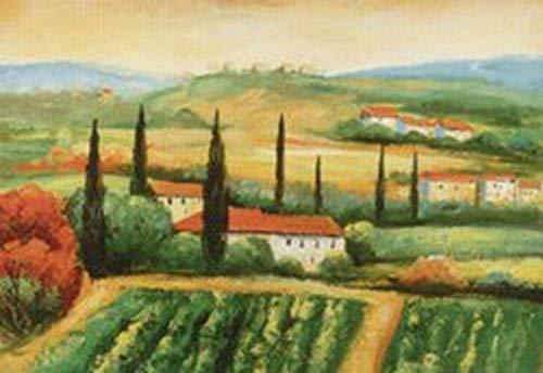 Hillside Harvest I by Antonio 16 X 20 Poster, TUSCANY, ITALIAN, ITALY, HILLS, COUNTRY, LANDSCAPE, GARDENS