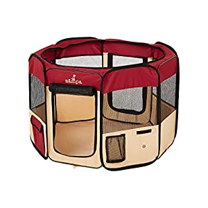 Zampa Portable Foldable Pet playpen Exercise Pen Kennel + Carrying Case For Larges Dogs Small Puppies /Cats | Indoor / Outdoor Use | Water resistant