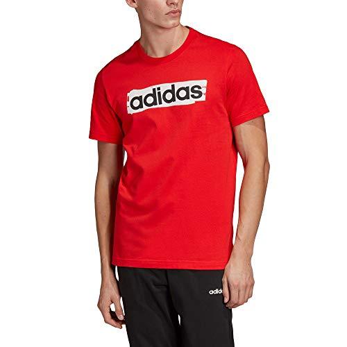adidas Herren Essentials Linear Brush T-Shirt, Actred, M