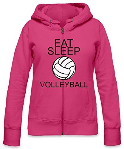 Eat Sleep Volleyball Slogan Womens Zipper Hoodie Small