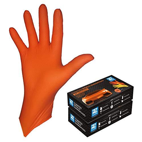 GUANTES de NITRILO DIAMANTADO naranjas - Los guantes de nitrilo MÁS RESISTENTES del mercado - SIN LÁTEX - REUTILIZABLES (L)