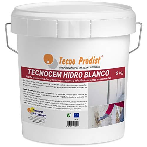 TECNOCEM HIDRO de Tecno Prodist - (5 Kg) - Mortero cemento de capa gruesa para revocos y enlucidos, hidrofugado e impermeable de color blanco.