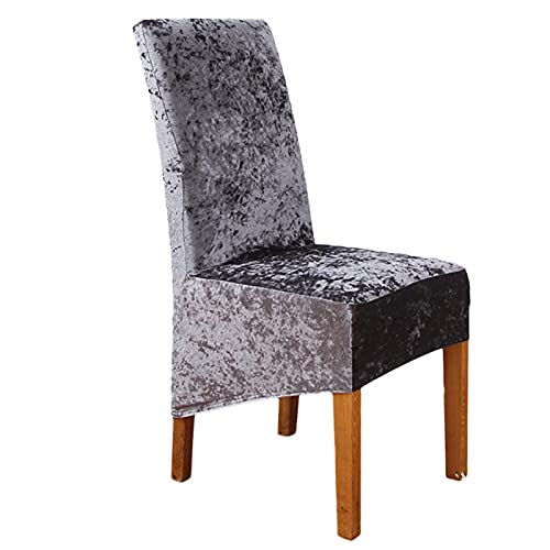 FUHU-SJZ Stretch Chair Covers for Dining Room, Chair Protective Slipcover,Crushed Velvet Chair Covers for Dining Chairs,for Kitchen Hotel Banquet Ceremony (6Pieces,Grau)