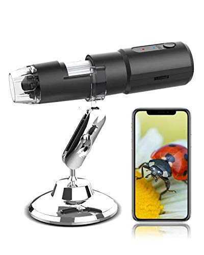 Wireless Digital Microscope USB Microscope, 50X to 1000X Magnification Mini Handheld Microscope Camera with 8 LED Lights, Pocket Microscope with Stand for Adult, Kids, Compatible with Phone, Computer