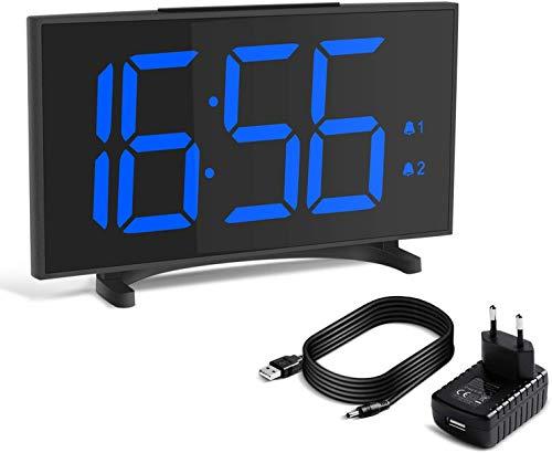 Yissvic Digital Wecker Uhr Tischuhr 12/24H Dual Alarm Easy Snooze 6 Einstellbare Helligkeit ultradünn mit 6,5 Zoll LED Display mit USB-Ladeanschluss Adapter