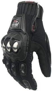 Stainless Steel Armour Motorcycle Gloves Sport Motorbike Racing Street (M, BLACK)