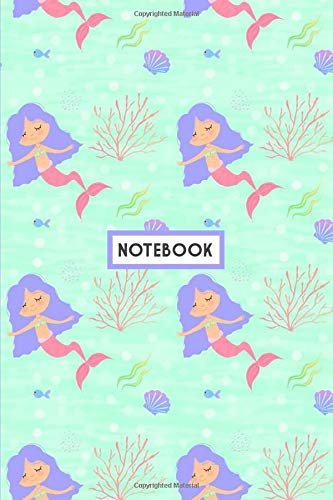 Notebook: Mermaid Blue Pink Coral, Wide Ruled 110 pages (6.14
