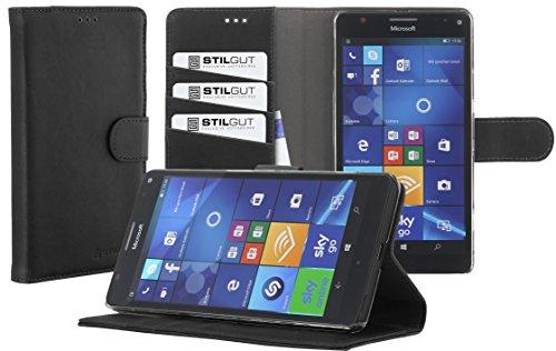 StilGut Talis, Hülle mit Standfunktion und Kreditkartenfach für Microsoft Lumia 950 XL, Schwarz Vintage